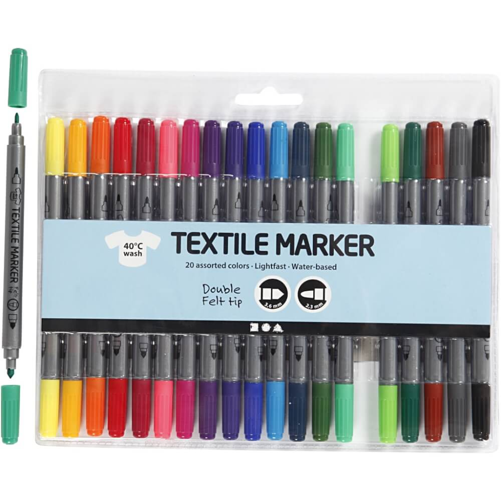 rugzakje kleuren textielstiften 20