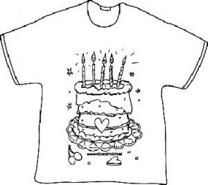 t-shirt kleuren kinderfeestje verjaardagstaart