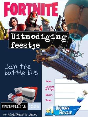 Fornite uitnodiging kinderfeestje