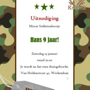 soldaten feestje uitnodiging